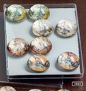 Cristal Imanes Mapa del Mundo, Juego de 12, Cristal