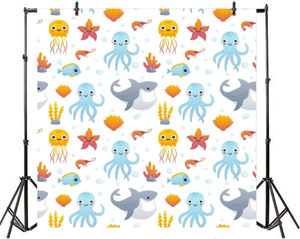 10x10ft Childish Marine Animals Illustration Vinyl Photography Background Cartoon Sharks Octopus Jellyfish Starfish Shells Backdrop Baby Shower Birthday Party Banner Wallpaper Studio Props
