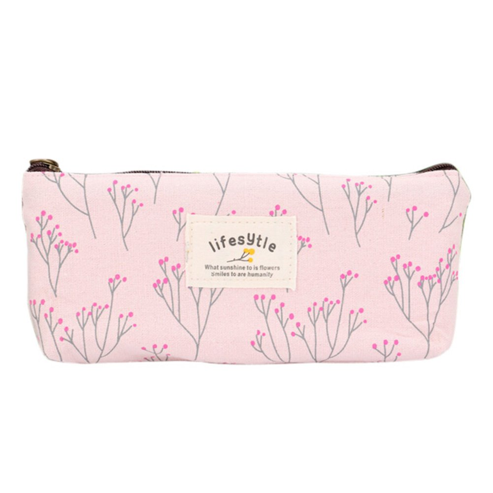 Cristoferv Lower Floral Pencil Pen Case Cosmetic Makeup Tool Bag Storage Pouch Purse Cosmetic Makeup Bag (H)