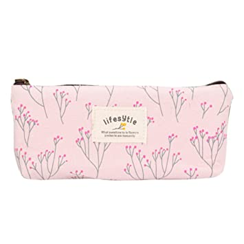 Lienzo Pen Pencil Case Papelería Bolsa Bolsa Caso Bolsas de Cosméticos rosa Talla:talla única