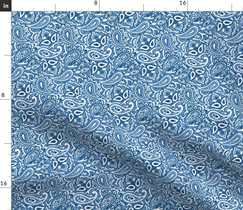 Spoonflower Paisley Fabric - Paisley Blue Paisley Retro Blue and White Funky Jasperware Lonely Angel Print on Fabric by The Yard - Petal Signature Cotton for Sewing Quilting Apparel Crafts ()