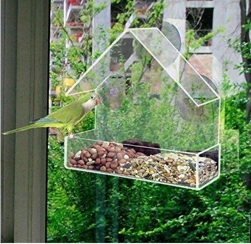Homgomco Mangeoires pour Oiseaux Mangeoire de Type à adsorption Transparente