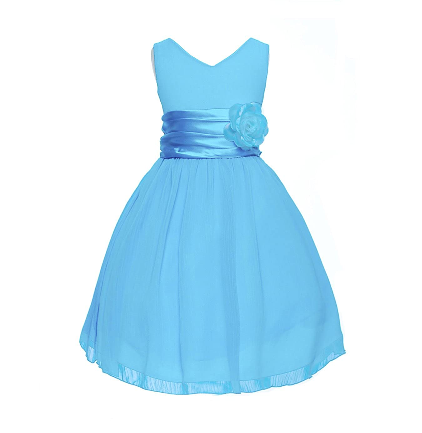 Amazon V Neckline Chiffon Flower Girl Dress Clothing