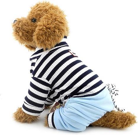 SELMAI Stripe Pet Outfit para camisa de perro, top vaquero, pantalones de vestir, ropa de vestir, ropa azul XXL