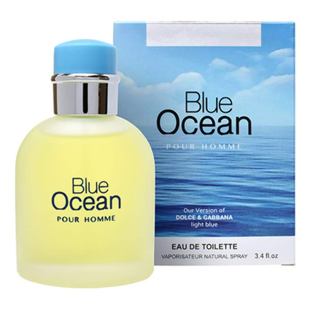 Blue Ocean Eau De Toilette Pefume for Men, 3.4 fl oz/100, Impression by Mirage Brands with a NovoGlow Suede Pouch Included