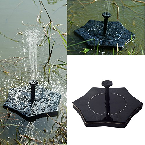 Solar Fountain,Chartsea Solar Power Bird Bath Fountain Water Floating Small Pond Garden Patio Decoration Solar Panel Water Floating Fountain Pump Kit (A)