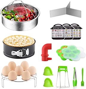 YOLIFE 11 Pieces Instant Pot Cooker Accesories Se Steamer Basket, Springform Pan Fits,Egg Bites Mold, Egg Rack, Silicone Mini Oven Mitts