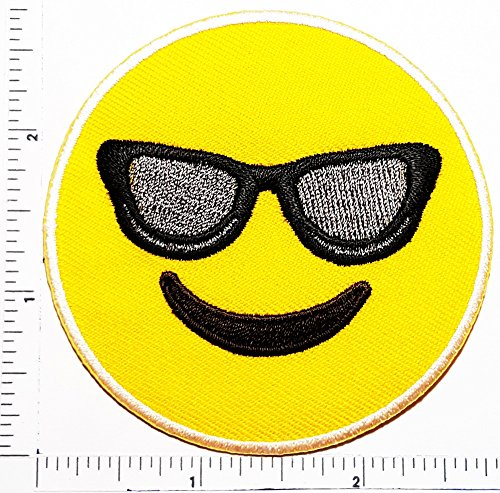 Smiling Face with Sunglasses Smile Face Logo Kid Hippie Patch Kids Cartoon Motif Patches Smile Face Iron on Applique for Cloth Sticker Great as happy birthday - Puts Emoticon On Sunglasses