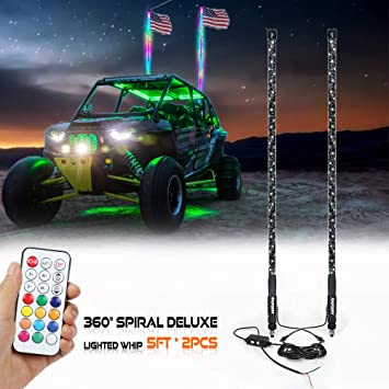 RGB 3FT Spiral LED Whips LED Light Whip Remote Control For ATVS UTVS Polaris RZR