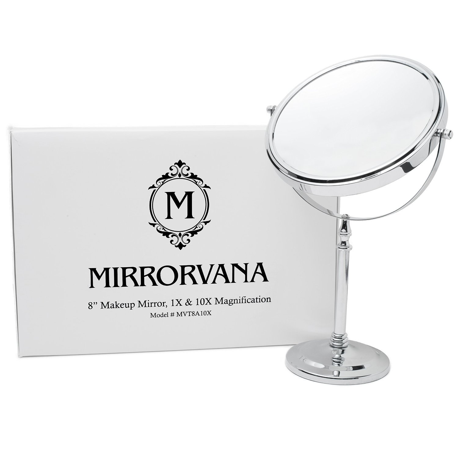 MIRRORVANA Large 8-Inch Vanity Makeup Mirror ~ Double-Sided 1X and 10X Magnifying Mirrors ~ Perfect for Bedroom or Bathroom Vanity