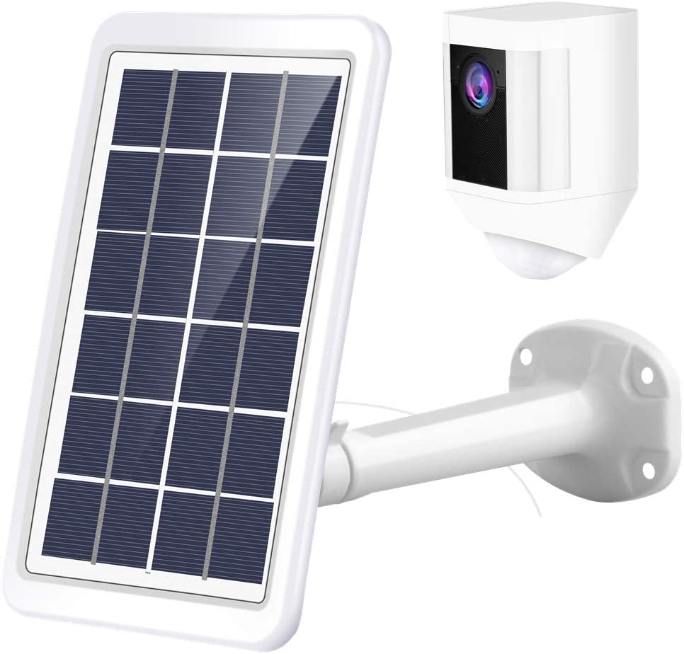 Tyrone Surveillance Camera Solar Panel and Adjustable Metal Mount Bracket Power Charging Cable Compatible Ring Spotlight Cam Battery Ring Spotlight Cam Battery Solar Panel White