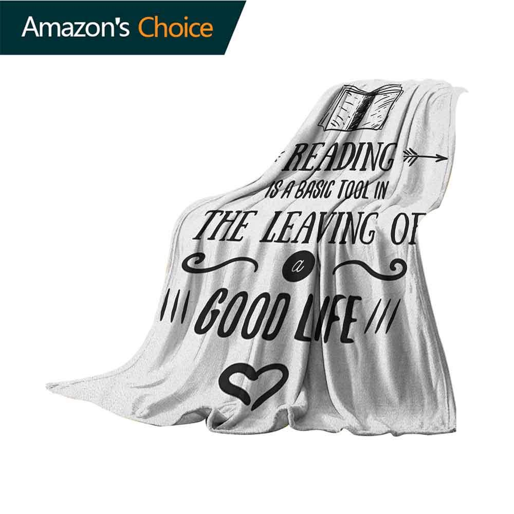 Book Baby Blanket,Vintage Typography Inspirational Quote About Reading with Hand Drawn Book Heart Shape 300GSM,Super Soft and Warm,Durable Blanket,60'' Wx80 L Black White