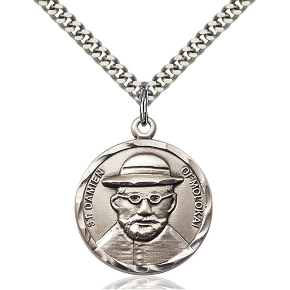Bonyak Jewelry Sterling Silver Blessed Damian of Molokai Pendant 7//8 x 3//4 inches with Heavy Curb Chain