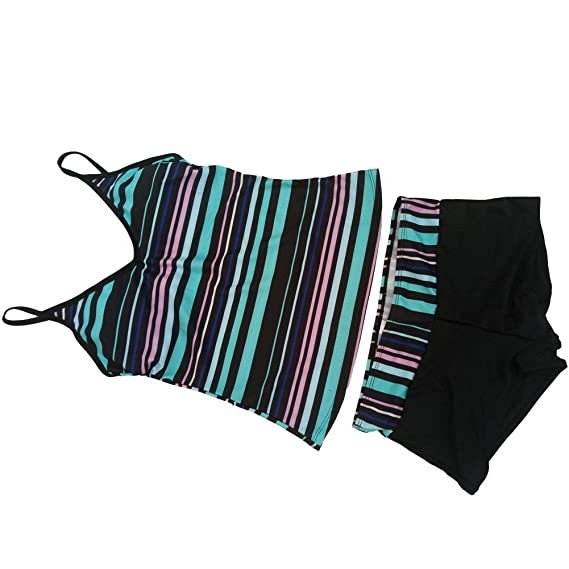 Hzjundasi Femmes Plus Size Deux pièces bretelles Tankini Top maillot de bain avec Triangle Briefs Beachwear Bikini de natation La Sortie Populaire 7ABw3