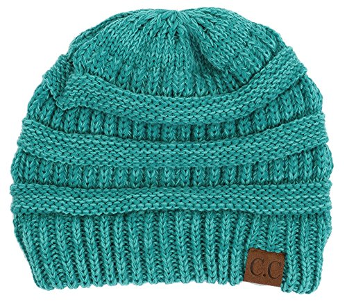 H-6800-46 Marled Ribbed Beanie - Two Tone - Mint, One Size Fits Most