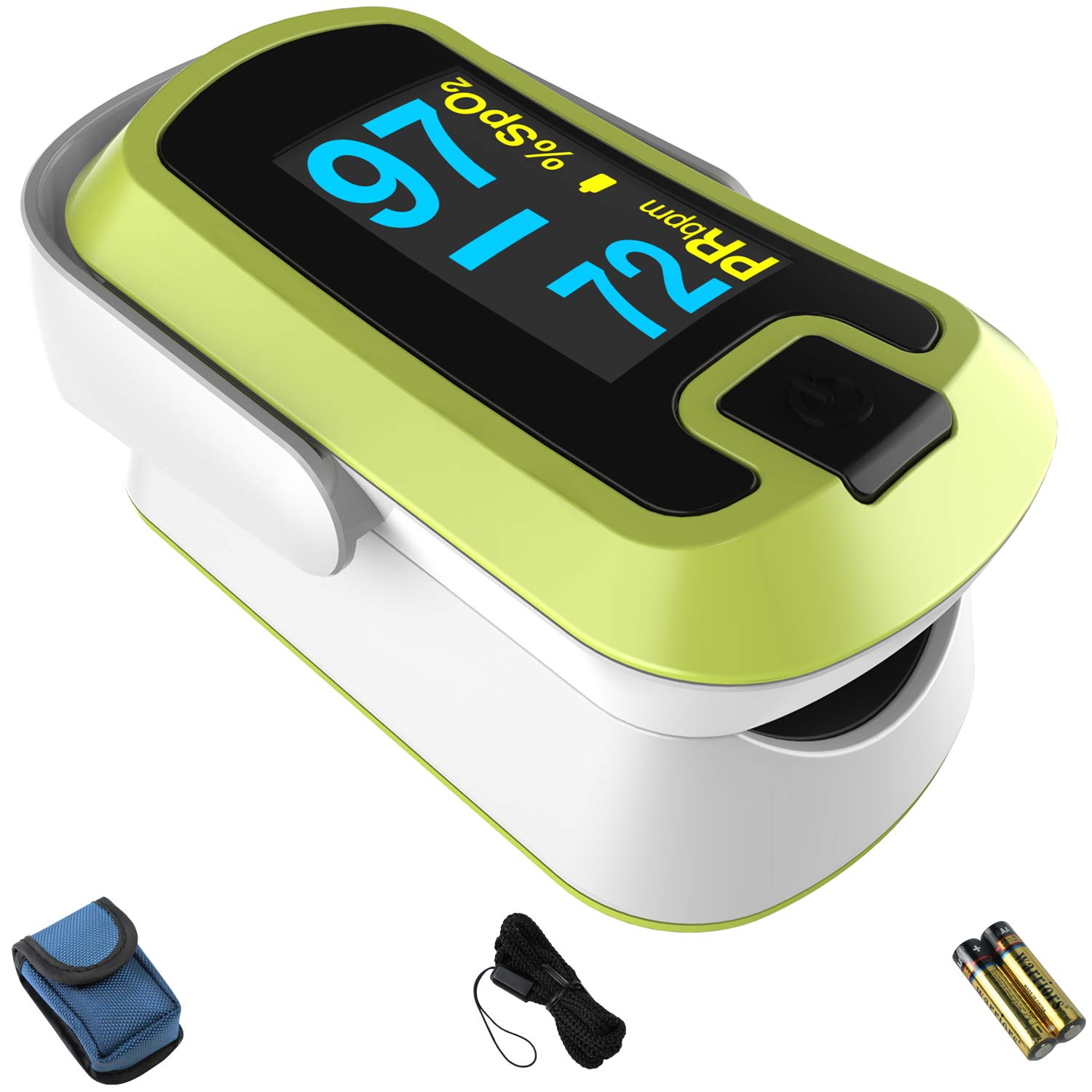 mibest OLED Finger Pulse Oximeter, O2 Meter, Dual Color White/Green