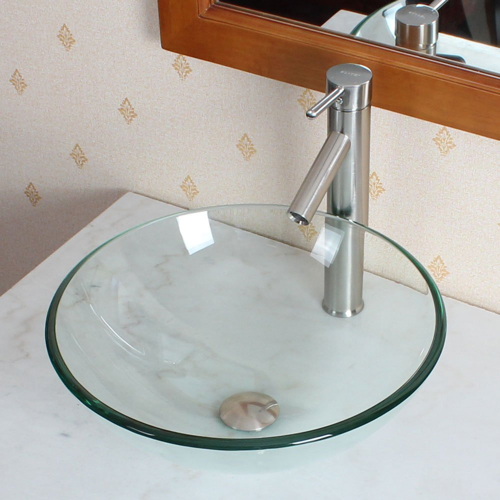 Elite Bathroom Clear Round Glass Vessel Sink & Brushed Nickel Single Lever Faucet Combo & Nickel Pop Up Drain Mounting Ring