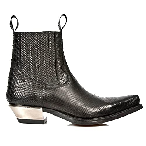 a69178b0cc5 New Rock Black Snakeskin Patterned Black Ankle Cowboy Boots