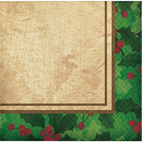 - Club Pack of 432 Green and Ivory Gilded Holly 2-Ply Beverage Napkin 10