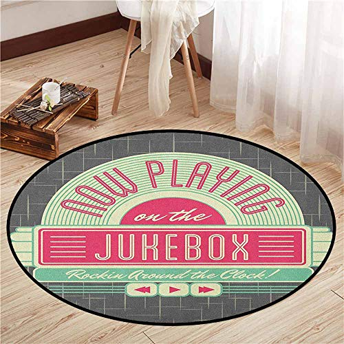 Bedroom Round Rugs,Jukebox,Charcoal Grey Backdrop with 50s Inspired Radio Music Box Image,Children Bedroom Rugs,2'3