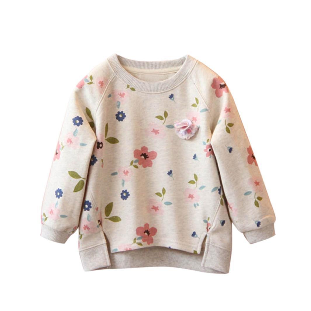 Babykleidung Tops, Honestyi Herbst Winter Kids Baby Mädchen Floral Printing Langarm warm Tops T-Shirt Blusen (Grau, 3T/100CM)