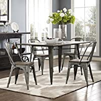 Modway Promenade Stackable Modern Aluminum Four Bistro Dining Side Chair Set With Bamboo Seat in Gunmetal