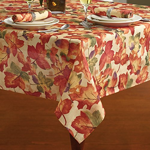 Harvest Leaf Festival Autumn and Thanksgiving Fabric Print Tablecloth, 60 Inch x 144 Inch (60
