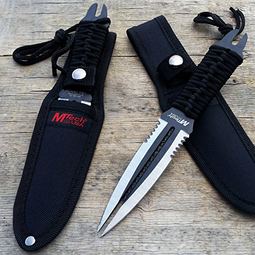 "8.5"" MTech Stainless Steel Tactical Fixed Black Double Edge Dual Blade Dagger 