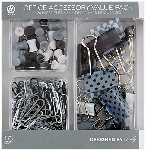 - U Brands Binder Clips Paper Clips and Push Pins Value Pack, Black White and Gray Fashion Colors, 173-Count