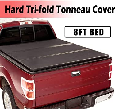 Amazon Com Fit 2014 2019 Toyota Tundra 8ft 96 Bed Cover Hard Tri Fold Truck Bed Tonneau Cover Hard Solid Truck Bed Cover For 2014 2019 Toyota Tundra 8ft 96 Bed Easy To Install Automotive