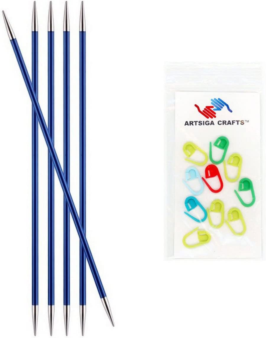 2mm Bundle with 10 Artsiga Crafts Stitch Markers 140031 Knitters Pride Knitting Needles Zing Double Pointed 8 inch Size US 0