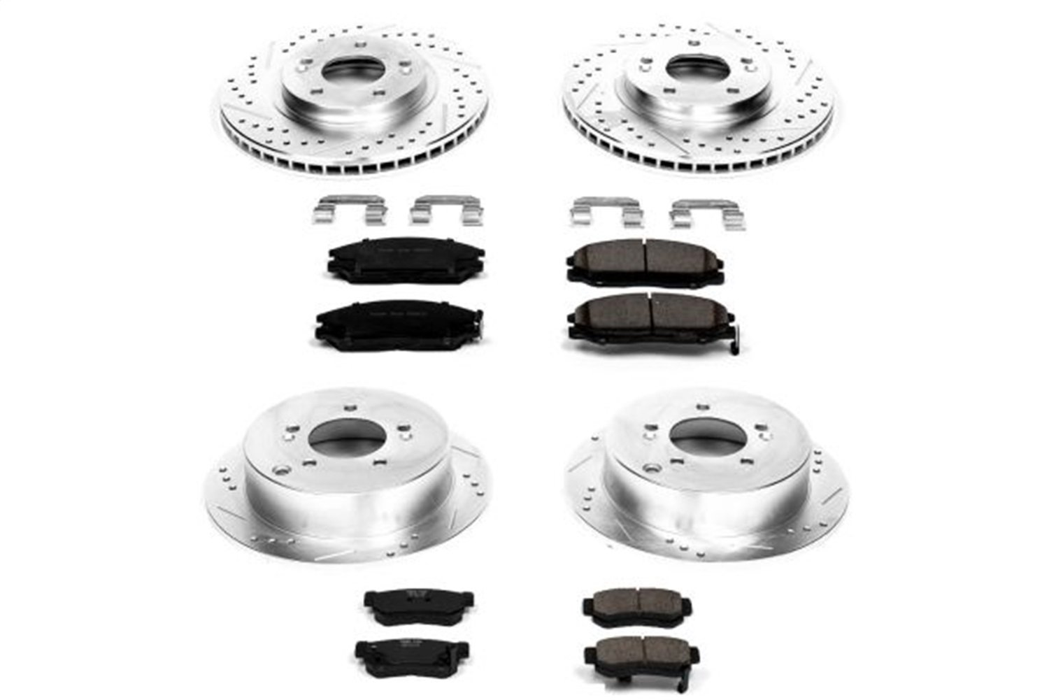 Power Stop K4446 Front /& Rear Brake Kit with Drilled//Slotted Brake Rotors and Z23 Evolution Ceramic Brake Pads