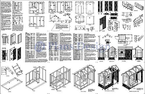 DIY Chicken Coop / Hen House 4 ft x 8 ft Saltbox Roof Style Project Plans, Design 70408RS