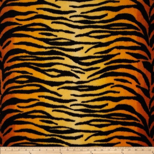 Fleece Animal Print Tiger Black/Gold Fabric By The (Tigers Fleece Fabric)