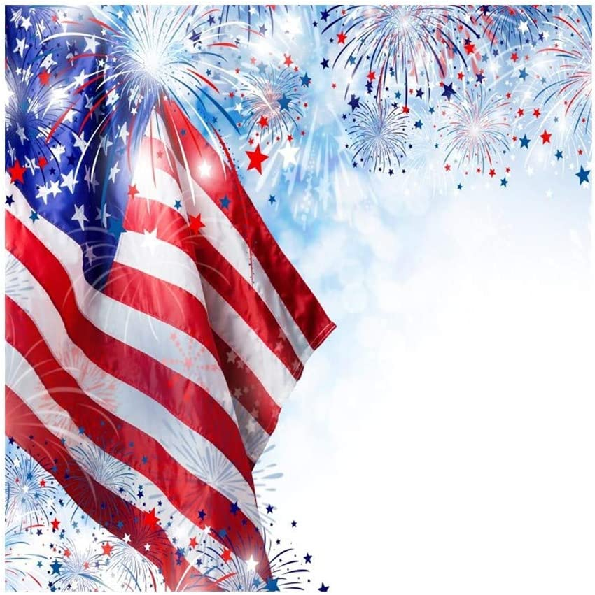 OFILA American Flag and Fireworks Photos Backdrop 10x10ft 4th of July Independence Day Photography Background Fireworks Party National Flag Day Events Photo Shoot American-Themed Party Photos Props