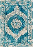 Lenox Blue Vintage Persian Medallion Modern Traditional Oriental Casual Area Rug 5 x 7 (5'3'' x 7'3'') Thick Soft Plush Shed Free