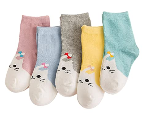 fdfb594fc6f0 Unisex Baby Cute Cat and Puppy Cartoon Socks Toddler Cotton Socks for Boys  and Girls-