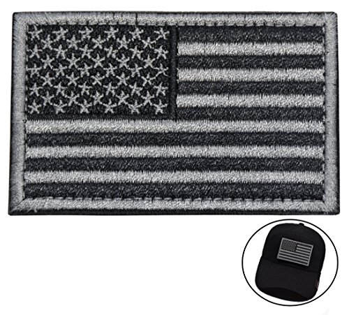Tactical Morale Patch USA Flag Embroidered American Flag Patch Velcro Hook Backing Emblem (Black+Silver Grey) (Velcro Usa)