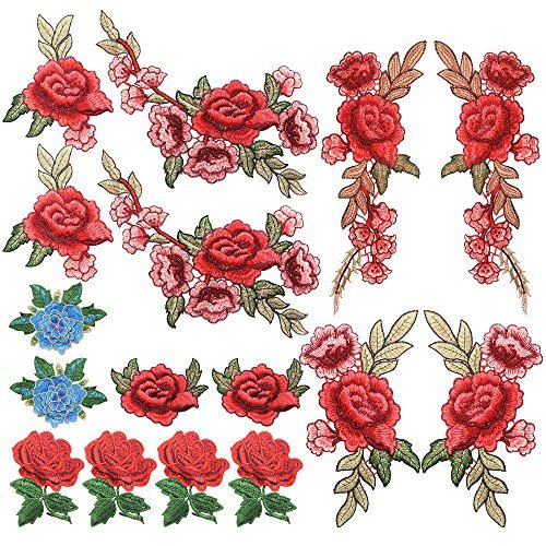 Floral Rose Fabric (Homgaty 16Pcs Rose Flowers Embroidered Patches, Lace Floral Fabric Applique Sew on Embroidery, DIY Craft Patch Design for Clothes, Jeans, Jackets,Bags)