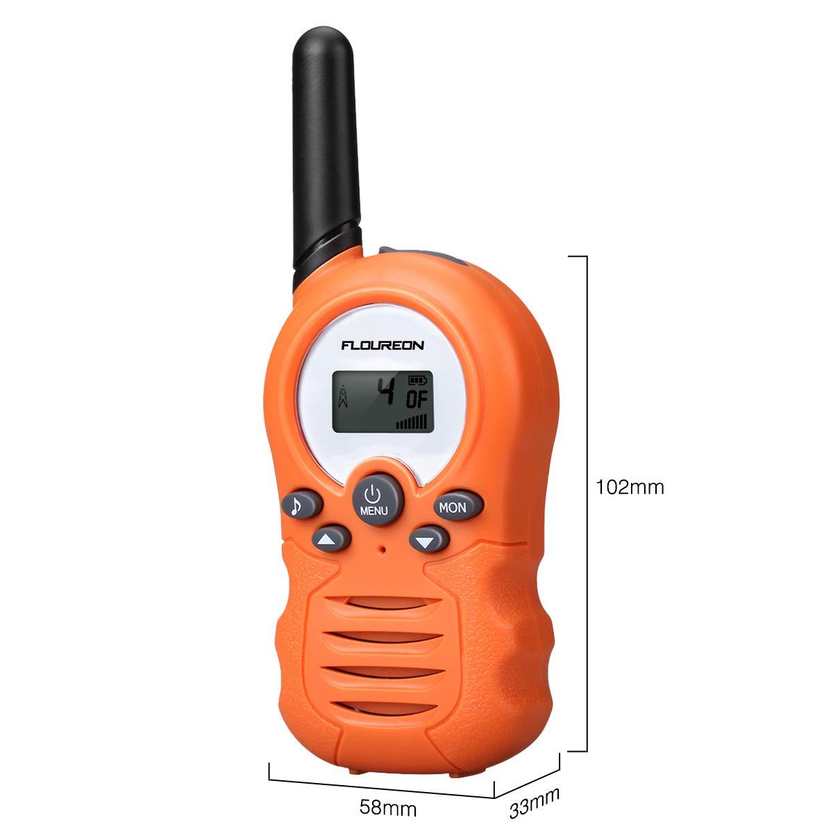 FLOUREON PMR Funkgerät Walkie Talkies 8 Kanäle Walki Talki Funkhandy Interphone mit LC-Display (Gelb-02)