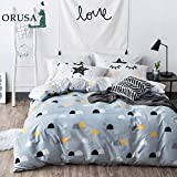 ORUSA Blue White Twin Duvet Cover Set Half Dots Stars Duvet Cover with 2 Pillow Shams Bedding Set for Kids Teens, Style 6