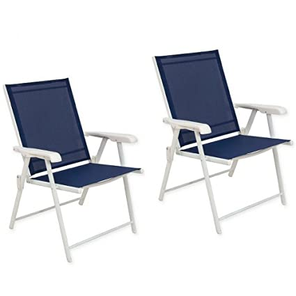 Never Rust Aluminum Sling Folding Chairs In White (Set Of 2)