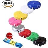 BUSHIBU 8 pcs150 cm 60 Inch Push Button Soft Retractable Tape Measure Handy Pocket Tape Measure Double-Sided Tailor's Measuring Tape