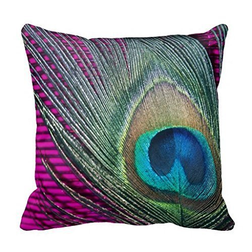 Magenta Peacock Bedding Cushion Cover with Lines Accent Pillows for Sofa Decorative Throw Pillow Case