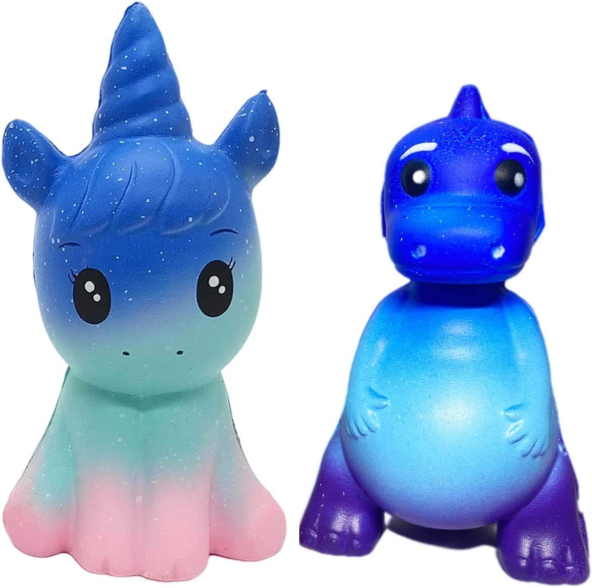 ASMFUOY 2 Pcs Galaxy Unicorn Dinosaur Slow Rising Squishies, Cute Birthday Gift for Kids, Stress Relief Squeeze Toys