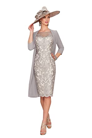 dressvip Grey Lace Half Sleeves Below Knee Length Prom Dress with Chiffon Coat (UK14,