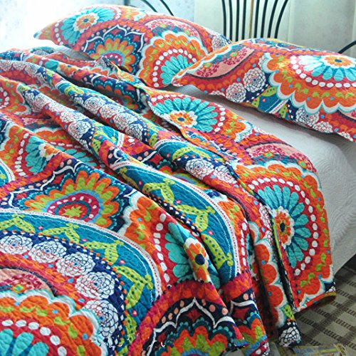 MAXYOYO New!Super Beautiful Gorgeous Flowers Quilt Set 3Pcs,American Village Blue Quilt Throw,Cotton Bedspreads Full/Queen Size Bright Quilt