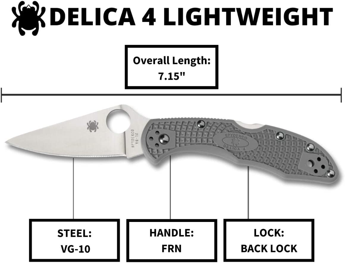 "Grey Color Spyderco Delica 4 Lightweight 7.15"" Signature Knife with 2.90"" Flat-Ground Steel Blade and High-Strength FRN Handle"