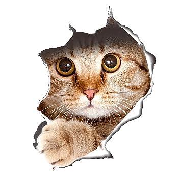 Süß 3D Katze/Hund Wandaufkleber Kinderzimmer Schlafzimmer Wandtattoo WC  Deckel Wasserfest Aufkleber Badezimmer Wandsticker Kühlschrank DIY Sticker  ...