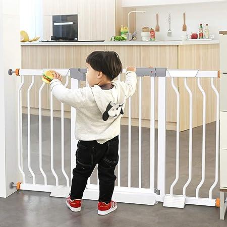 Barrera de seguridad Protección De La Puerta De Seguridad para Bebés para Niños, Niños Escalera 90 ° Stop Open & Auto-Close, Puertas para Perro, Blanco, 31